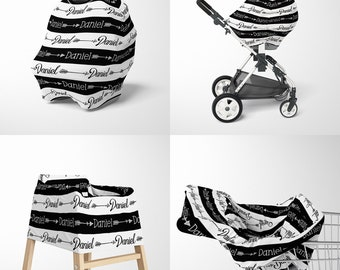 3cff1d18b47 Personalized Baby Car Seat Cover with Tribal Arrows - Custom Name Infant  Car Seat Canopy - Mom Nursing Wrap - Breastfeeding Privacy Cover