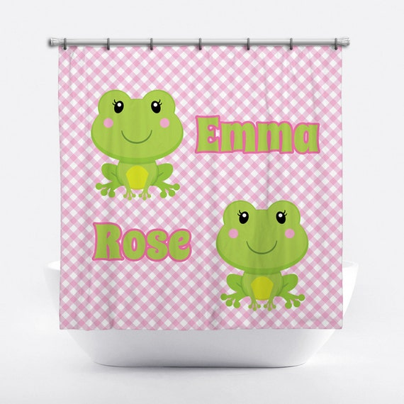 Frog Personalized Shower Curtain For Girls