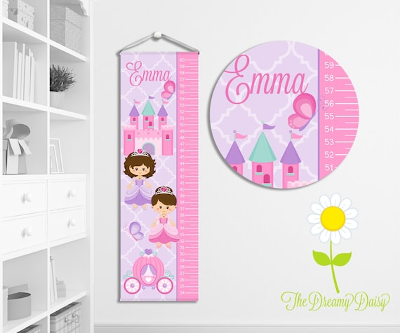 Personalized Princess Growth Chart For Kids Custom Etsy