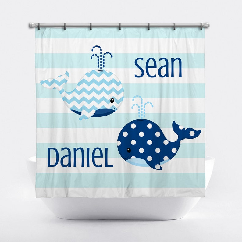 Whale Personalized Shower Curtain For Boys Blue