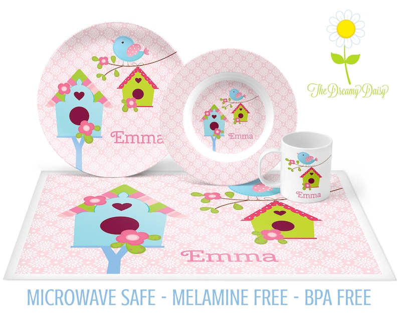 Custom Tableware Personalized Dinnerware Little Bird Plate Set Microwave Safe Mug /& Placemat Personalized Birdhouse Plate Bowl