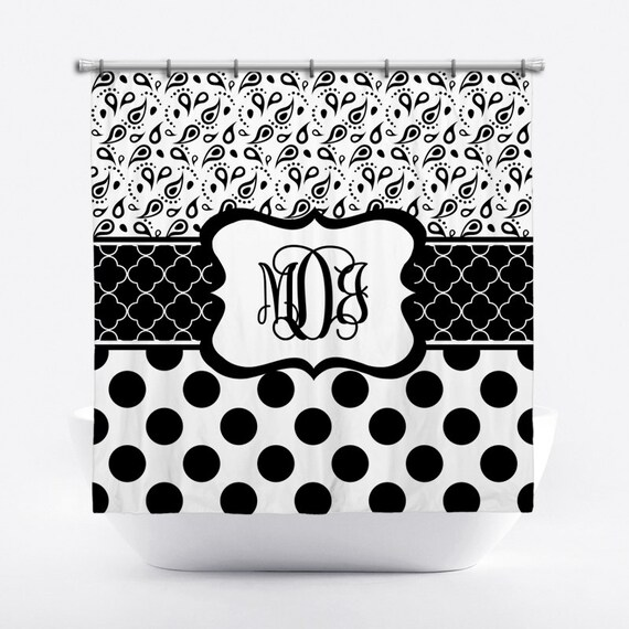 Monogrammed Shower Curtain Black And White Personalized