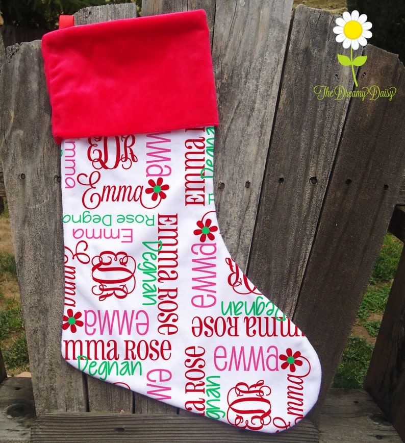 Monogrammed Christmas Stocking Kids Custom Xmas Stocking Personalized Stocking For Girls With Name And Initials Choose Your Colors