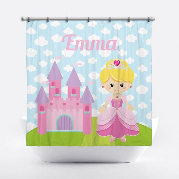 Princess Personalized Shower Curtain For Girls