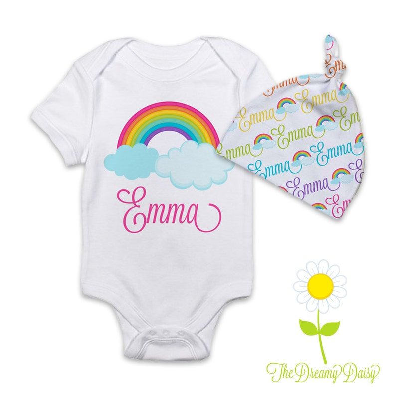 Personalized Rainbow Baby Girl Gift Rainbow Bodysuit or Gown  3c1efe175c40