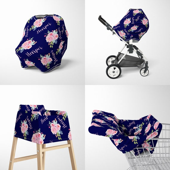 Personalized Baby Car Seat Canopy Cover Custom Name Floral