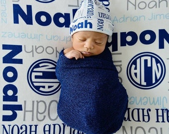 Personalized Baby Blanket Hat Set - Monogrammed Receiving Blanket and Optional Knotted Hat for Boys - Custom Name Swaddling Blanket and Hat