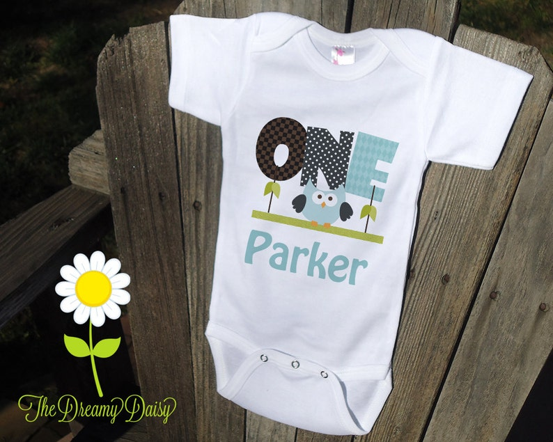 4f7a64384 Personalized 1st Birthday Baby Bodysuit for Boys Blue Owl | Etsy