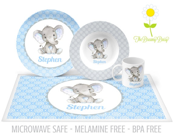 Elephant Dinnerware for Boys Custom Kids/' Tableware Personalized Plate for Kids Microwave Safe Bowl Elephant Plate Mug /& Placemat
