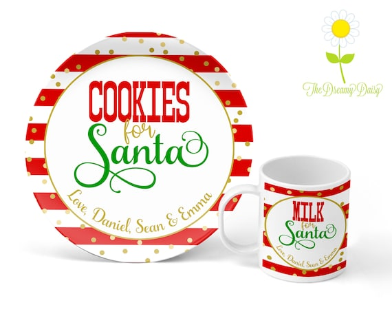 Personalized Kids Santa Plate Melamine Plate Holiday Personalized Cookies for Santa Plate Personalized Kids Plate Christmas Eve
