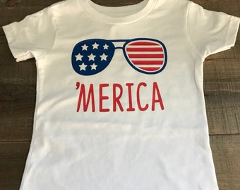Toddler t-shirt  says 'Merica with sunglasses custom colors-personalize