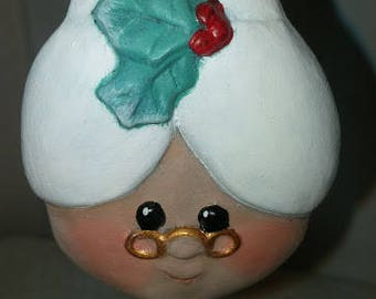 Mrs. Santa Head Ornament