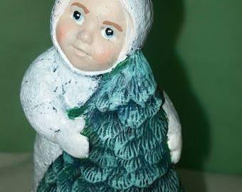 Ceramic Snowbaby With Tree Ornament