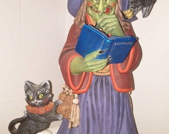 Large Ceramic Witch and Scratching Cat