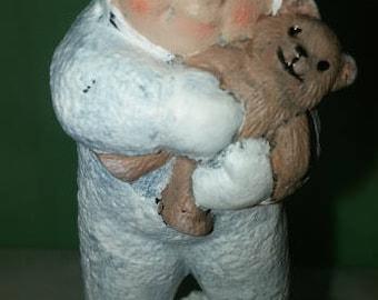 Snowbaby Holding Teddy Bear