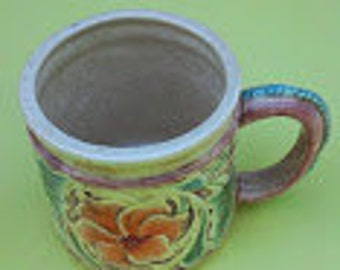 Tooled Leather Mug