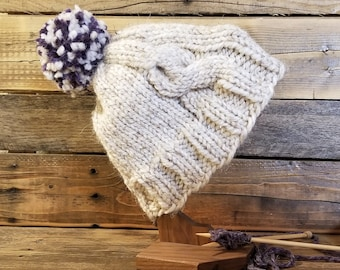Adult dirty white hand knit pom hat