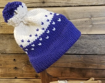 Adult double brim hand knit fair isle pom hat