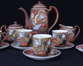 Vintage 14 Piece Japanese Satsuma Moriage Lithophane Tea Set