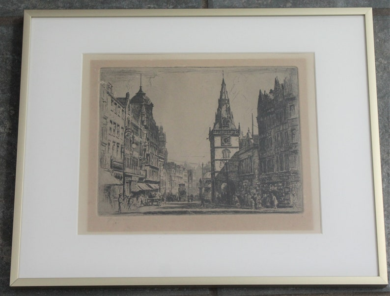 Scotland Etching Signed By Tom Paterson Antique Glasgow