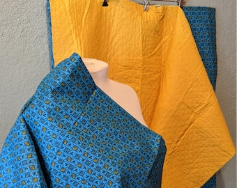 Double sided pre Quilted Fabric reversible with matching fabric 2 pieces of already cut fabric Blue and yellow checked paisley print