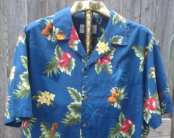 087d7c06 Bishop Street Men's Hawaiian Shirt Size Large Ukuleles, Ipu Heke, Palm  trees, flowers, yellow, red, green on dark blue 100% cotton