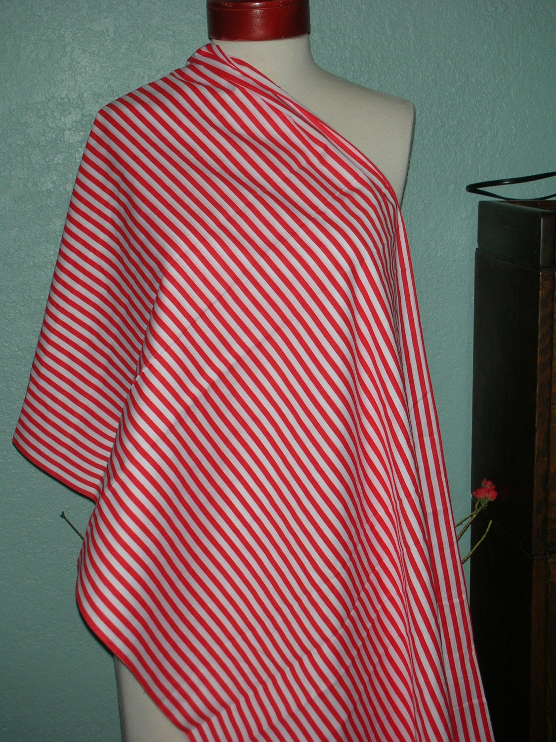 Red And White Striped Cotton Fabric One Piece 3 Yards 13 Inches
