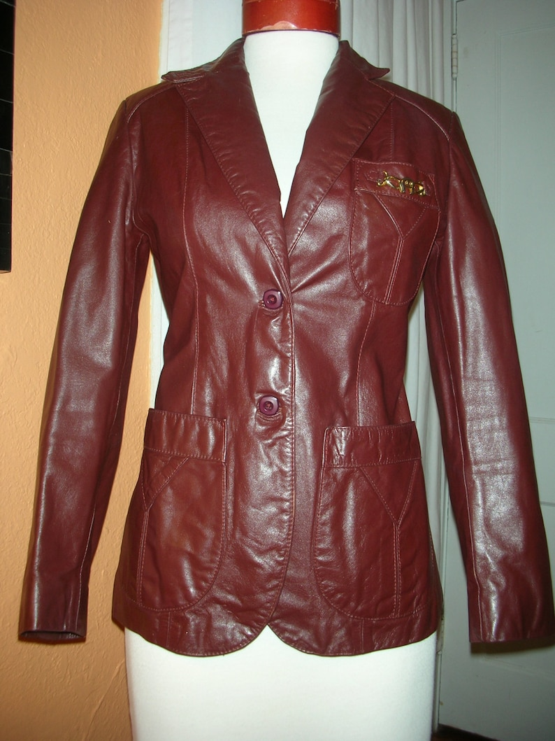 d50e49a2d 1970's Etienne Aigner Leather Blazer/Jacket Size 6 100% Genuine Leather  Rich Shade of Burgundy Cordovan Color