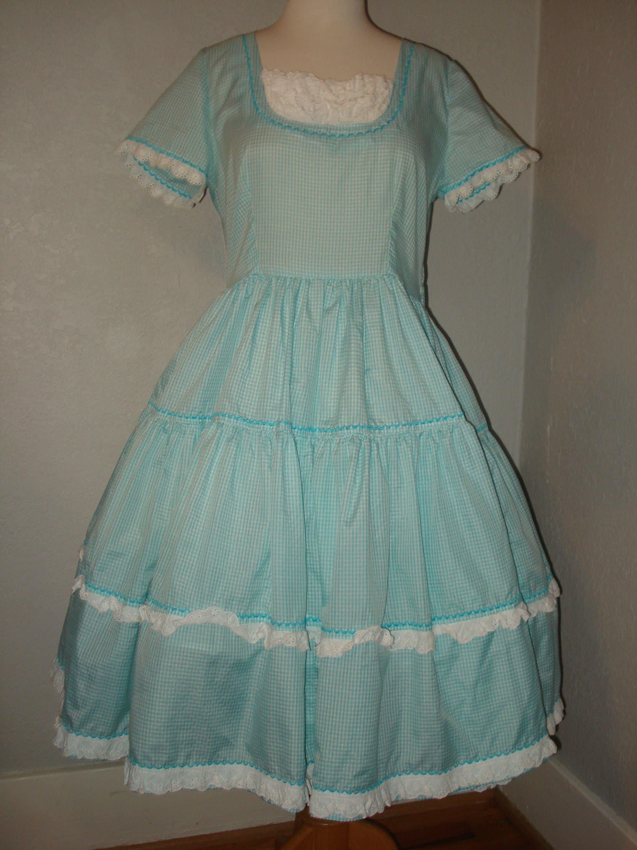 8b736f211b Vintage Gingham Square Dance Dress   Petticoat Slip Size 12 Swing ...