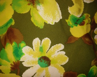Big Bold Floral Print One Piece Fabric 3 & 3/4 yards 44 inch wide Spring Mills Inc. Green Yellow White on Olive Green Background