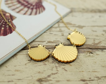 Statement gold shell necklace - perspex, wood