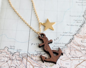 Star and Anchor nautical pendant necklace