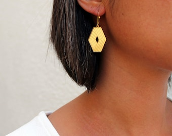Gold Geometric Architectural Earrings