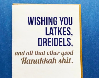 humor hanukkah card funny holiday card hanukkah card bulk hanukkah card latkes dreidels hanukkah - Funny Hanukkah Cards