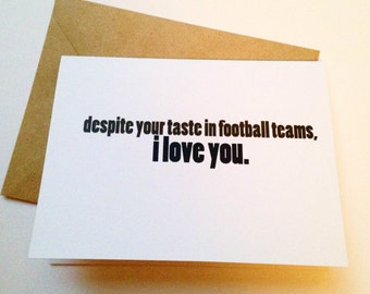 Football Card - Funny Love Card - Boyfriend Card - Husband Card - Sports Greeting Card