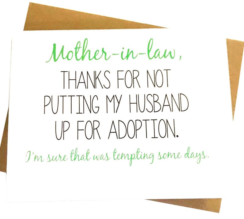 Mother In Law Card Mothers Day Mom Birthday