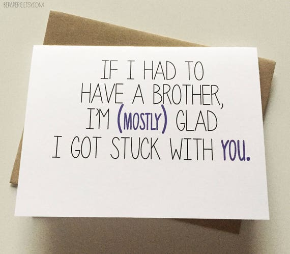 Brother card brother birthday card funny card card for etsy image 0 m4hsunfo