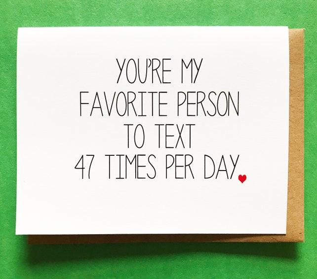 Favorite Person - Funny Love Card - Long Distance Relationship Card - Boyfriend Card - Love Card - Friend Card - Anniversary Card
