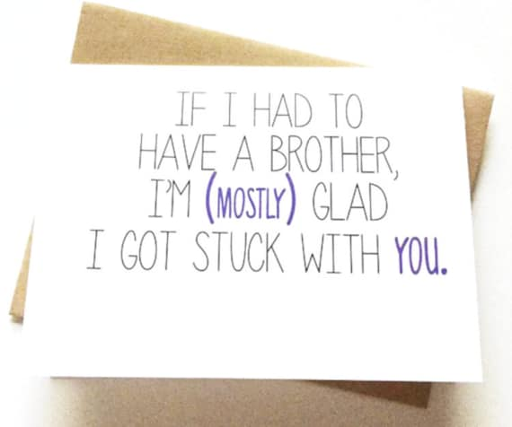 Brother Card Brother Birthday Card Funny Card Card For Etsy