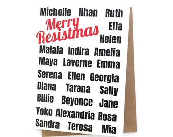 Merry Resistmas Feminist Holiday Card Merry Christmas Card Anti-Trump Anti-Christmas Michelle Obama Laverne Cox Beyonce Rosa Parks Ellen