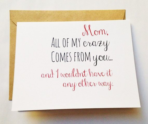 Crazy Mom Card Mothers Day Card Mom Birthday Card Etsy