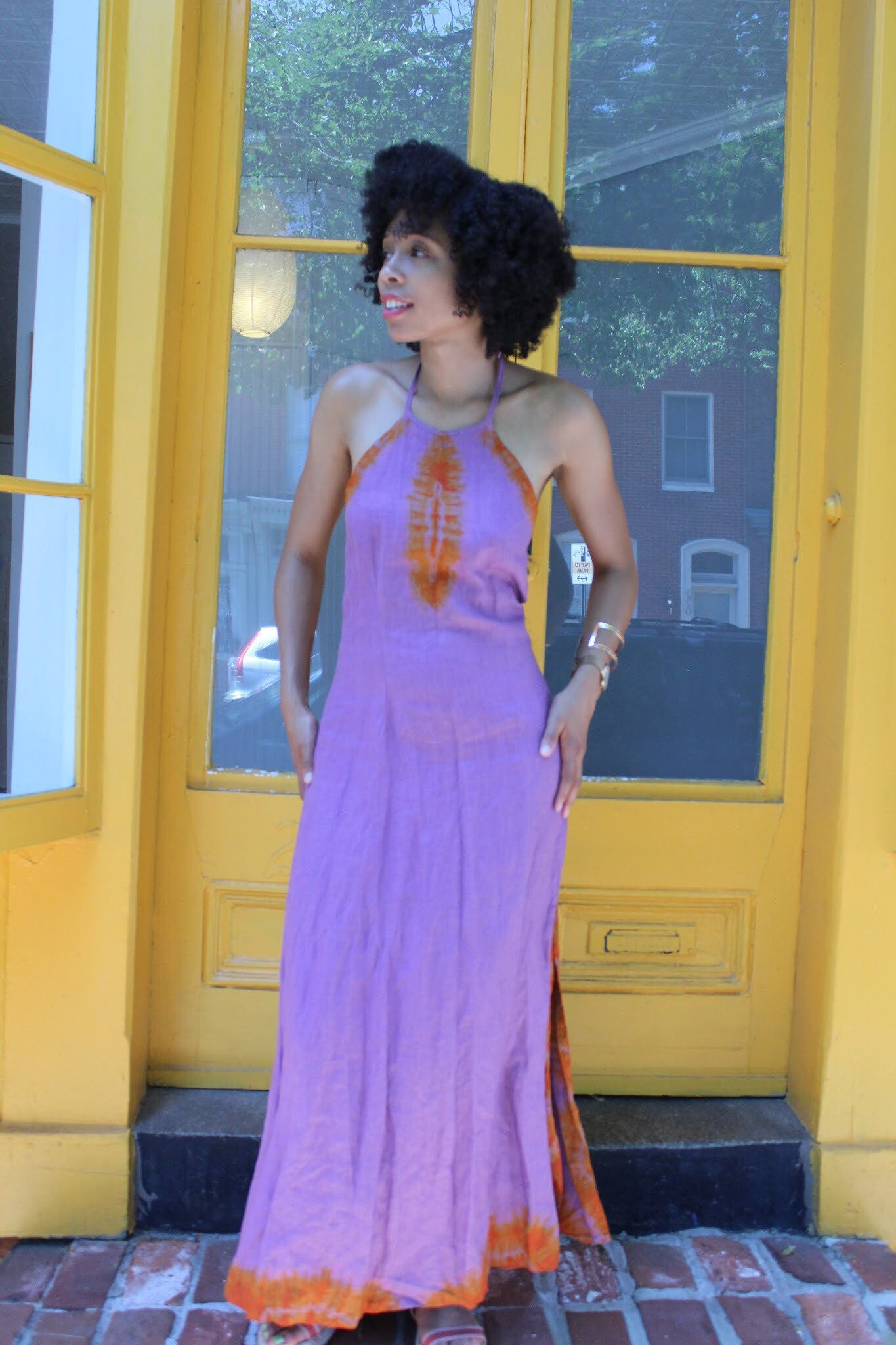 5622f3f72a3f 1960s 1970s Linen Tie Dye Halter Neck Style Maxi Dress with