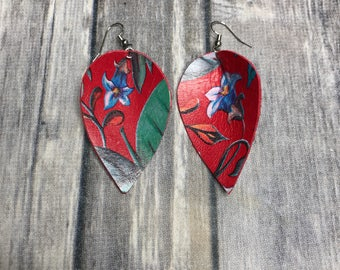 Red floral leaf drop earrings