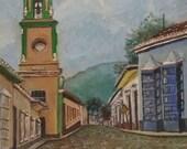 Old Vintage Street Scene Oil Painting Church Cityscape Landscape Art Framed