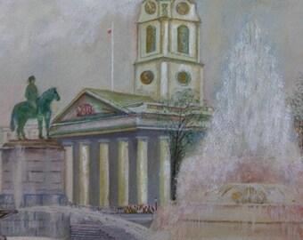 Vintage English Watercolor Gouache Painting Trafalgar Square England Landscape