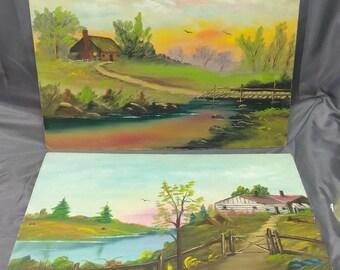 2 Old Vintage Artist Signed Original Oil Paintings Landscape American Waggoner