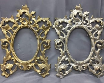 Pair Set of 2 Two Antique Old Cast Iron Rococo Picture Frames Ornate Cast Iron