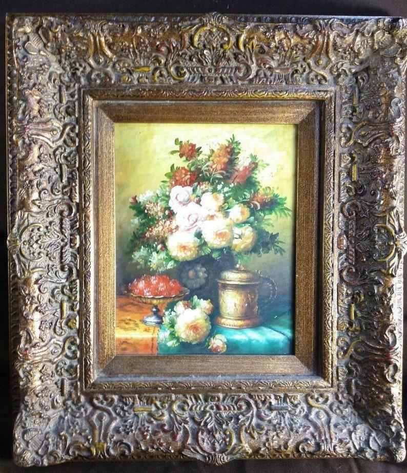 Framed Floral Still Life Beer Stein Vase Urn of Flowers Fruit Oil Painting Art
