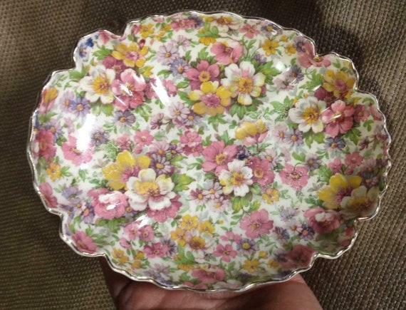 Vintage Chintz FlowersFloral Dish James Kent DuBar