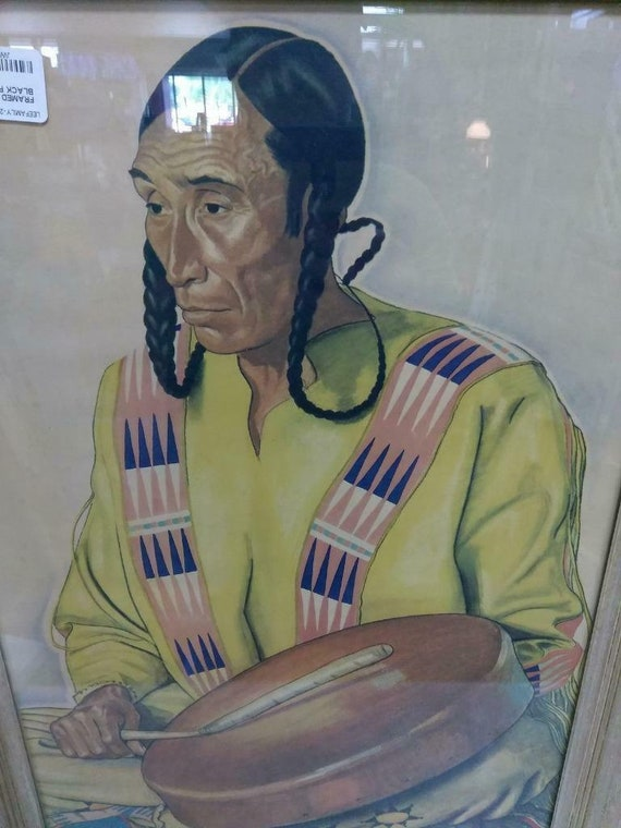 Antique Blackfeet Native American Indian Brave Gla